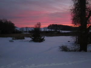 sunset over pon in snow